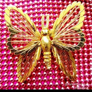 Monet Vintage Butterfly Brooch Gold color 1""